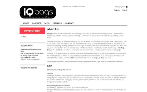 Screenshot of About Page iqbags.co.nz - About our handbag organisers | FAQ's | IQ BagsIQ Bags - captured Oct. 6, 2014