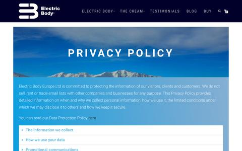 Screenshot of Privacy Page electricbody.eu - Privacy Policy - Electric Body - captured Sept. 27, 2018