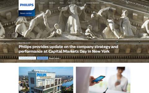Screenshot of Press Page philips.com - News center | Philips - captured Nov. 12, 2017