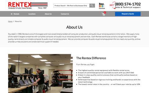 Screenshot of About Page rentex.com - About Us - Rentex Computer & Audio Visual Rentals - captured Sept. 24, 2016