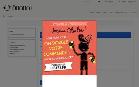 Screenshot of Contact Page obabaparis.com - Contact us - OBABA - captured Nov. 18, 2017
