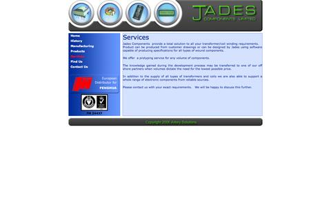 Screenshot of Services Page jadescomponents.co.uk - Jades Components - captured Oct. 6, 2014