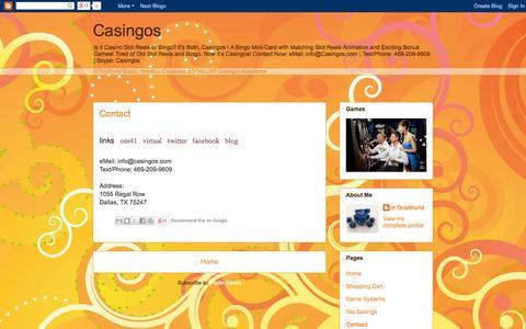 Screenshot of Contact Page casingos.blogspot.com - Casingos: Contact - captured Oct. 23, 2014