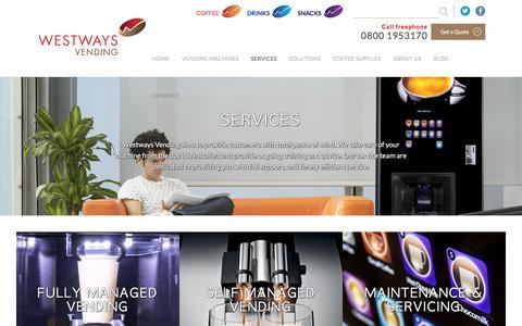 Screenshot of Services Page westwaysvending.co.uk - Vending Machine Service, Repair & Management | Westways Vending - captured Nov. 29, 2016