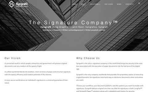 Screenshot of About Page syngrafii.com - About - Syngrafii Inc. - captured Oct. 20, 2018