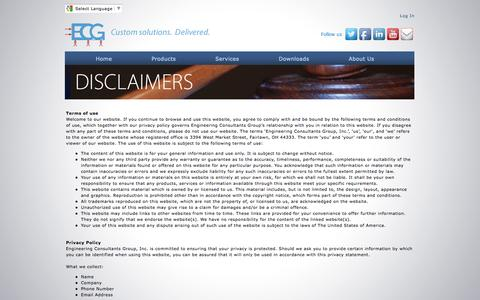 Screenshot of Privacy Page Terms Page ecg-inc.com - Engineering Consultants Group, Inc. - Legal Disclaimers - captured Jan. 29, 2016
