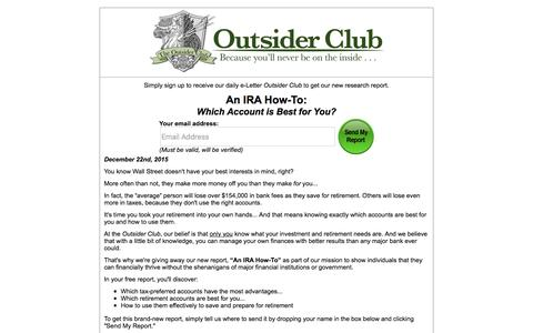 Screenshot of Landing Page outsiderclub.com - An IRA How-To: - captured Dec. 21, 2015
