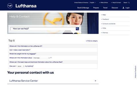 Screenshot of Contact Page lufthansa.com - Help - Lufthansa ® United States of America - captured April 29, 2018