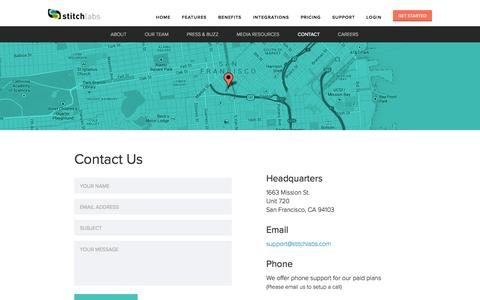 Screenshot of Contact Page stitchlabs.com - Contact Us | Stitch Labs - captured Sept. 17, 2014