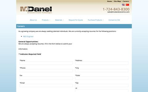 Screenshot of Jobs Page mcdanelceramics.com - Careers - captured Oct. 17, 2018