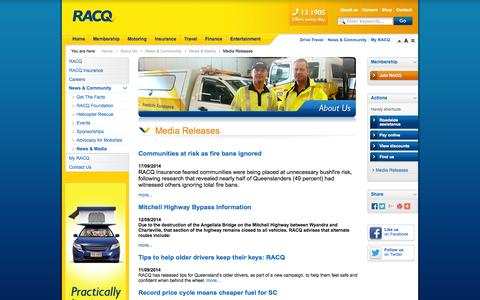 Screenshot of Press Page racq.com.au - Media Releases               | About Us | RACQ - captured Sept. 19, 2014