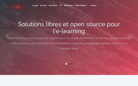 Screenshot of Home Page open-elearning.com - Solutions libres et open source pour l'e-learning | Open-Elearning - captured Oct. 19, 2018