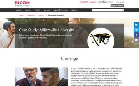 Screenshot of Case Studies Page ricoh-usa.com - Millersville University - captured Jan. 3, 2019