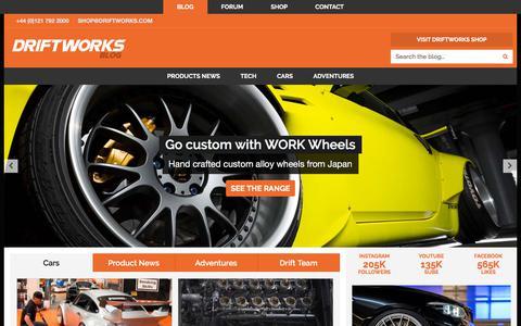 Screenshot of Blog driftworks.com - Driftworks Blog | Cars | Product News | Adventures | Drift Team - captured Sept. 16, 2019