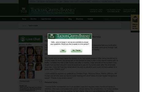 Screenshot of Testimonials Page tgblaw.com - Client Testimonials | Tucker Griffin Barnes PC - captured Feb. 16, 2016