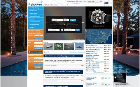 Screenshot of Home Page flightaware.com - FlightAware - Flight Tracker / Flight Status / Flight Tracking - captured Sept. 19, 2014