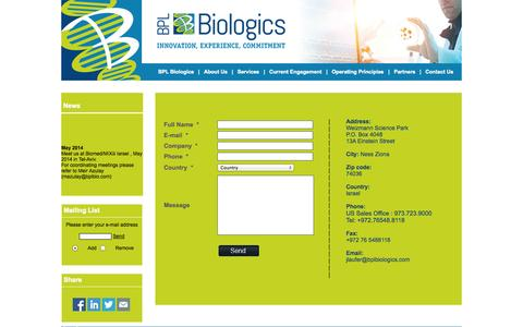 Screenshot of Contact Page bplbio.com - www.bplbio.com - Contact Us - captured Oct. 4, 2014