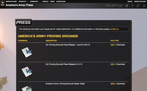 Screenshot of Press Page americasarmy.com - America's Army: Press - captured Sept. 19, 2014