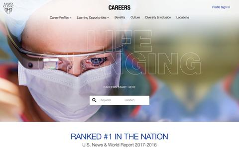 Screenshot of Jobs Page mayoclinic.org - Jobs | Mayo Clinic | Life-Changing Careers - captured Feb. 11, 2018