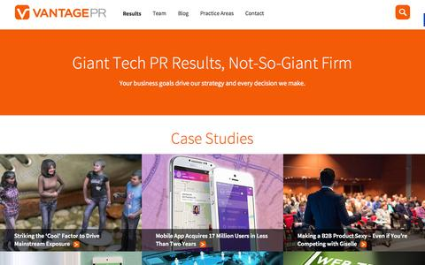 Screenshot of Services Page Case Studies Page vantagepr.com - Tech PR Agency that Drives Results | Vantage PR - captured Nov. 17, 2015