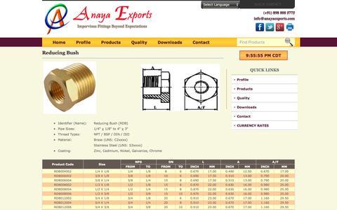 Screenshot of anayaexports.com - Reducing Bush of Brass and Stainless Steel - captured May 11, 2016