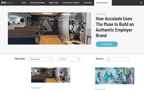 Screenshot of Case Studies Page themuse.com - Case Study Archives - TheMuse - captured July 6, 2018