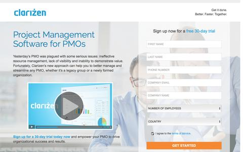 Screenshot of Landing Page clarizen.com - PMO Project Management Software l Clarizen - captured May 11, 2016