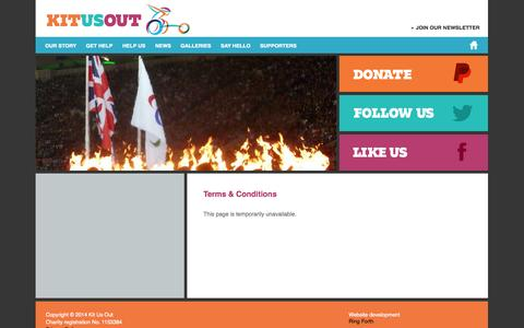 Screenshot of Terms Page kitusout.org - Terms & Conditions » Kit Us Out - captured Sept. 30, 2014