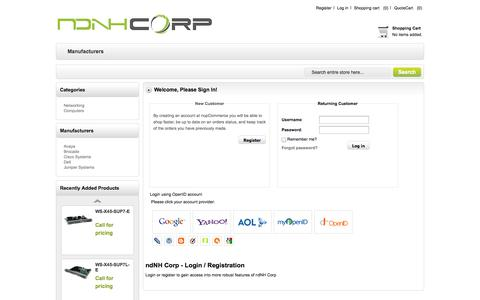Screenshot of Login Page ndnhcorp.com - ndNH Corp - We Buy & Sell Used/Refurbished IT Equipment. Login - captured Oct. 7, 2014