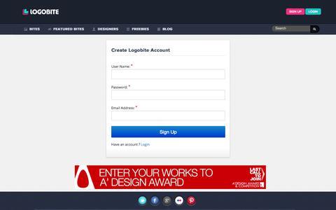 Screenshot of Signup Page logobite.com - Create Portfolio   Logo designs gallery   Logo design Ideas - captured Sept. 30, 2014