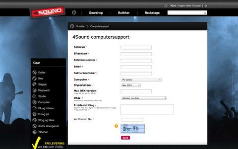 Screenshot of Support Page 4sound.dk - 4Sound - Kæmpe udvalg af musikinstrumenter. Guitar, Bas, Slagtøj, Keyboard og meget andet. - captured Nov. 2, 2014