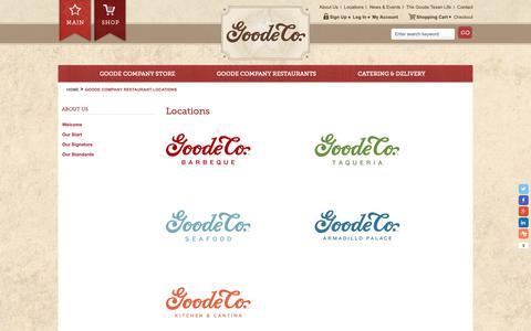 Screenshot of Locations Page goodecompany.com - Goode Company Restaurant Locations - captured Sept. 29, 2018
