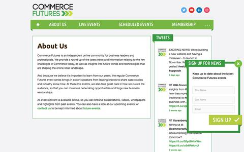 Screenshot of About Page commerce-futures.com - About Us — Commerce Futures - captured Oct. 28, 2017