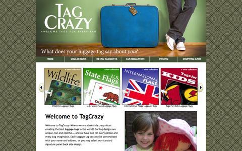 Screenshot of Home Page tagcrazy.com - Luggage Tags for Every Bag! TagCrazy.com - captured Oct. 9, 2014