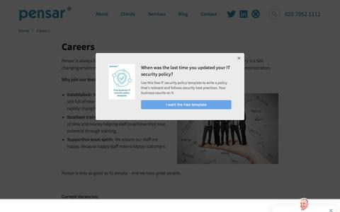 Screenshot of Jobs Page pensar.co.uk - Careers at the cutting edge of IT support and consultancy - captured July 16, 2018