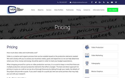 Screenshot of Pricing Page vcminteractive.com - Pricing for Video Production, Animations, Duplication, Replication & Marketing Services | VCM Interactive - captured Oct. 18, 2018