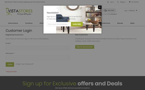 Screenshot of Login Page vistastores.com - Customer Login - captured Oct. 20, 2018