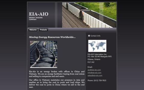 Screenshot of Home Page eia-aio.com - Welcome - captured Oct. 2, 2014