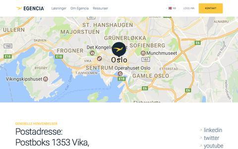 Screenshot of Support Page egencia.com - Kontakt oss | Egencia - captured May 1, 2017