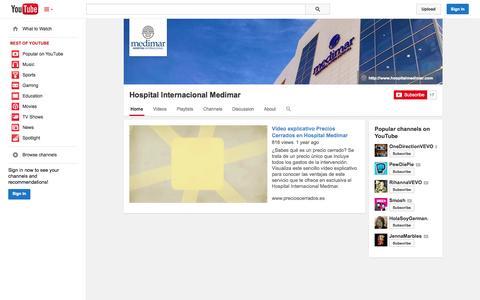 Screenshot of YouTube Page youtube.com - Hospital Internacional Medimar  - YouTube - captured Oct. 22, 2014