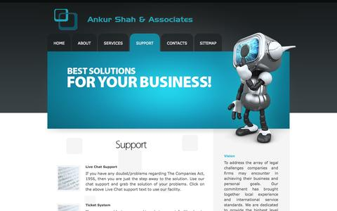 Screenshot of Support Page csankur.in - Ankur Shah & Associates - Firm of Practicing Company Secretaries - captured Oct. 4, 2014