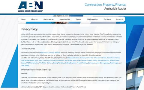 Screenshot of Privacy Page abngroup.com.au - Privacy Policy | ABN Group - captured Sept. 30, 2014
