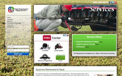 Screenshot of Services Page turfequip.com - Turf Equipment & Irrigation, Inc. - captured Oct. 9, 2014