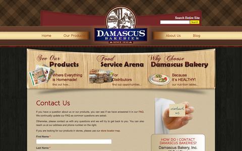 Screenshot of Contact Page damascusbakery.com - Contact Us | Damascus Bakeries - captured Sept. 30, 2014