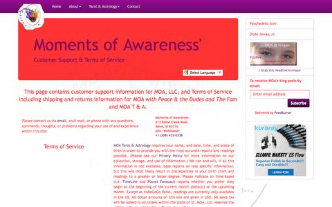 Screenshot of Support Page Terms Page momentsofawareness.com - Moments of Awareness' Customer Support & Terms of Service - captured Feb. 23, 2016