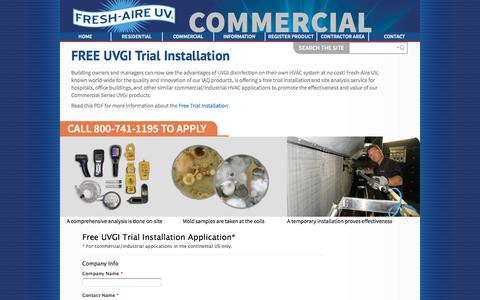 Screenshot of Trial Page freshaireuv.com - Commercial Free Trial - captured Aug. 28, 2018