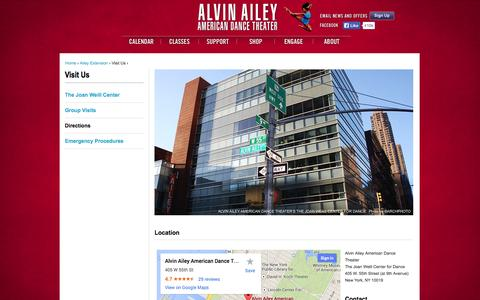 Screenshot of Maps & Directions Page alvinailey.org - Directions | Alvin Ailey American Dance Theater - captured Sept. 19, 2014