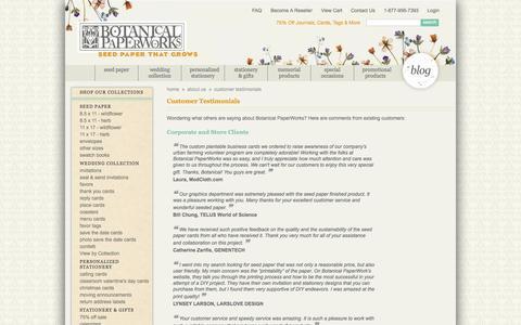 Screenshot of Testimonials Page botanicalpaperworks.com - Customer Testimonials | Botanical PaperWorks - captured Sept. 23, 2014