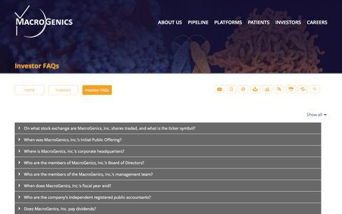Screenshot of FAQ Page macrogenics.com - Investor FAQs - MacroGenics, Inc. - captured Feb. 2, 2016