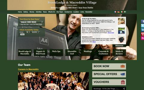 Screenshot of Team Page brooklodge.com - The Brooklodge & Wells Spa - Our Team - captured Oct. 26, 2014